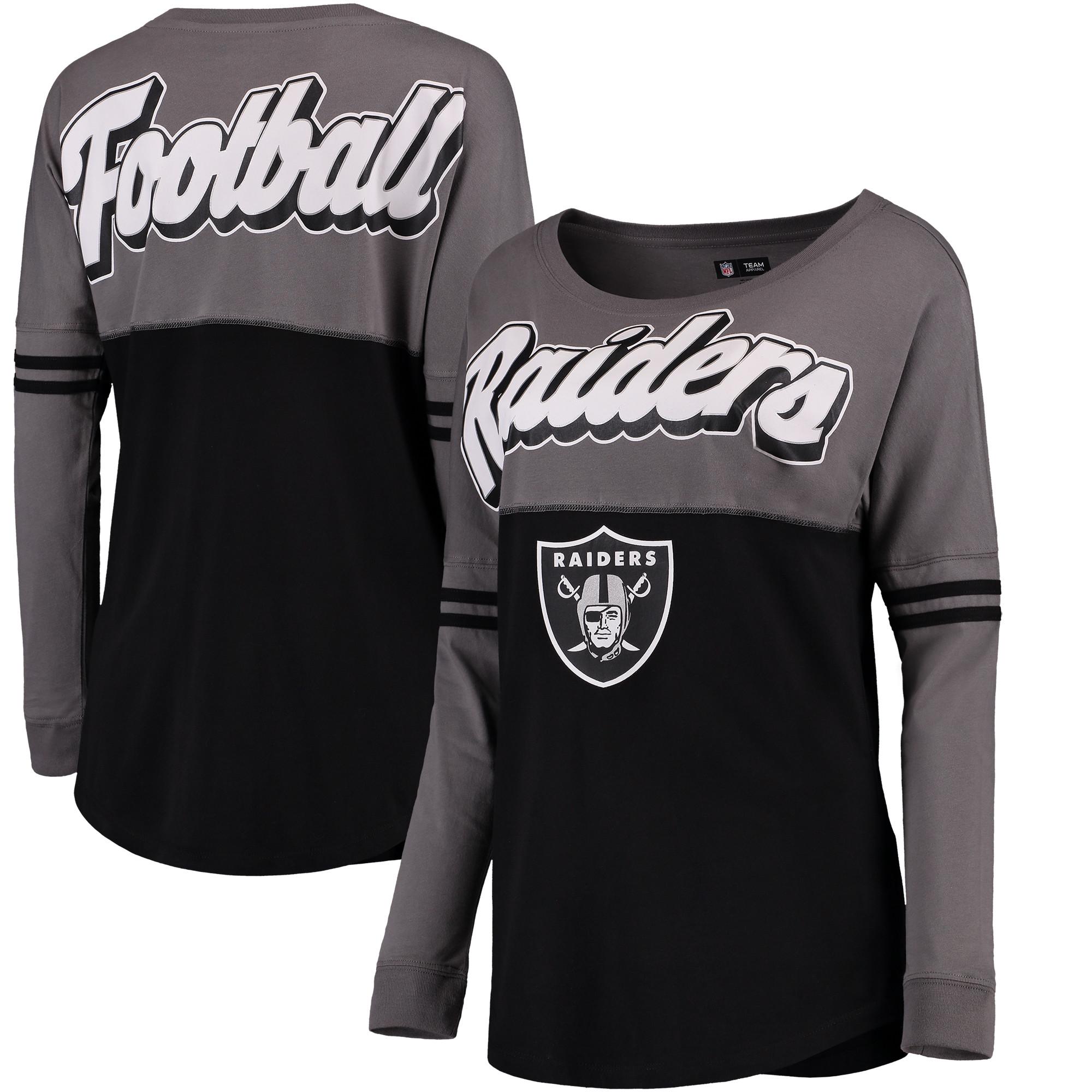 Oakland Raiders 5th & Ocean by New Era Women's Athletic Varsity Long Sleeve T-Shirt - Charcoal/Black