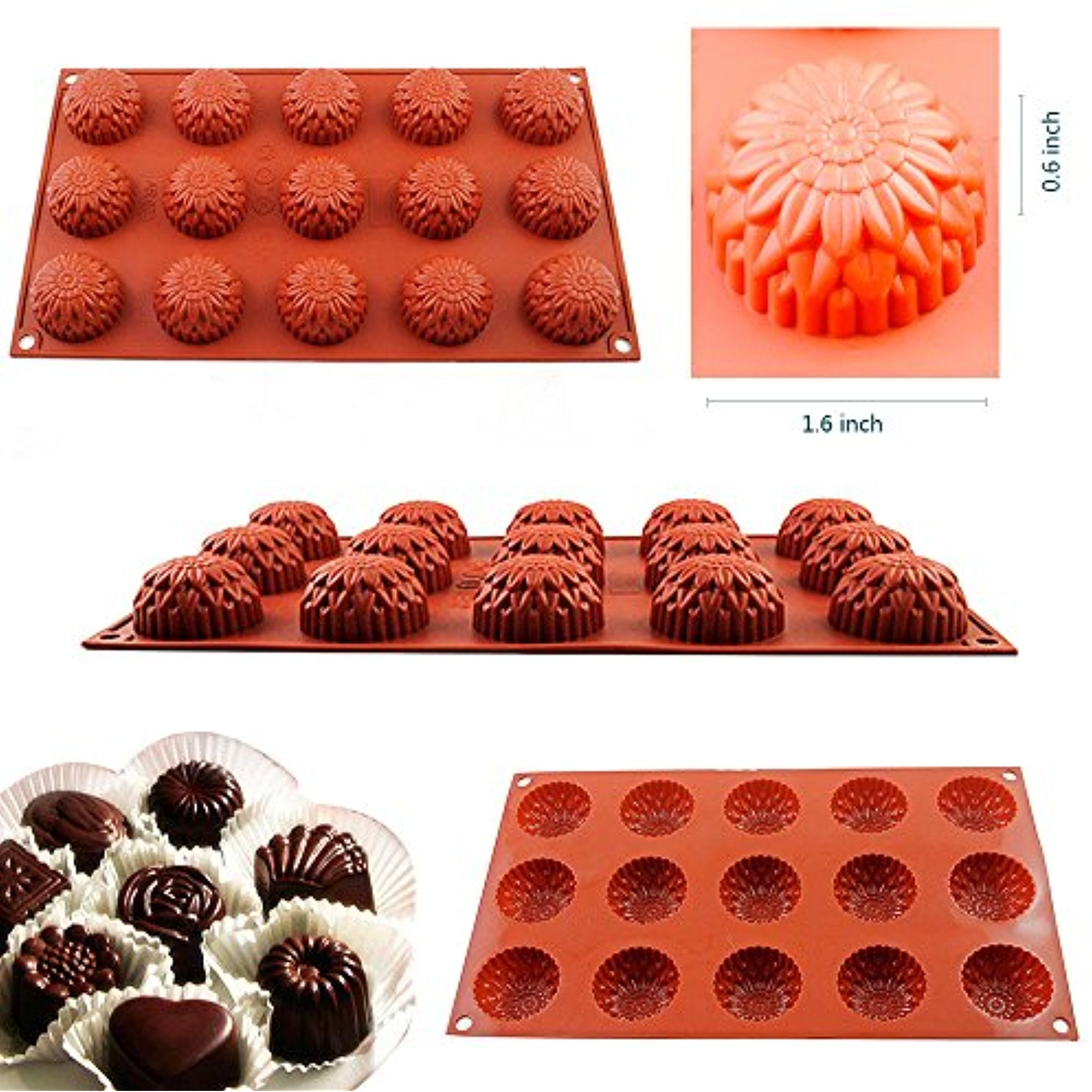Click here to buy ICLOVER 15-Cavity Food Grade Silicone Non Stick Flowers Cake Bread Mold Chocolate Jelly Candy Baking Muffin Bakeware Mold, Ice Cube Tray DIY... by iClover.