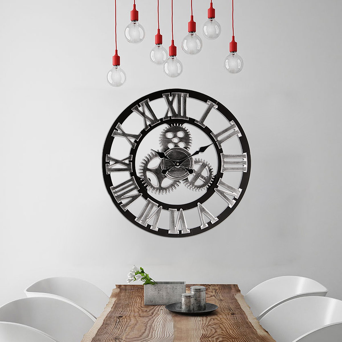 24 inch Industrial 3D Gear Round Wall Clock Vintage Retro Wooden Rustic Home Art Decoration
