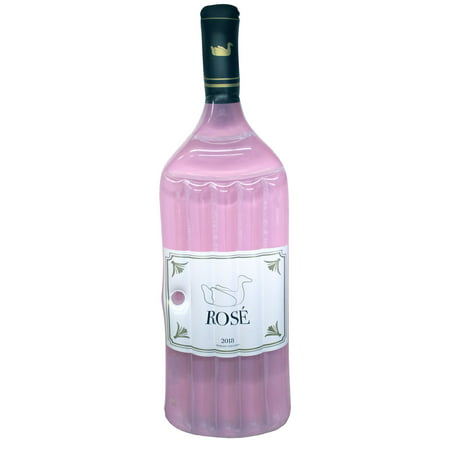 Swimline Inflatable Rose Wine Bottle Floating Raft Mat for Swimming Pool, Pink