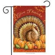 "Give Thanks Turkey Garden Flag Thanksgiving Pumpkins Pears 12.5"" x 18"""