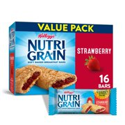 Kellogg's Nutri-Grain, Soft Baked Breakfast Bars, Strawberry, Value Pack, 20.8 Oz, 16 Ct