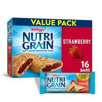 Kellogg's Nutri-Grain, Soft Baked Breakfast Bars, Strawberry, Value Pack, 20.8 Oz, 16 Ct