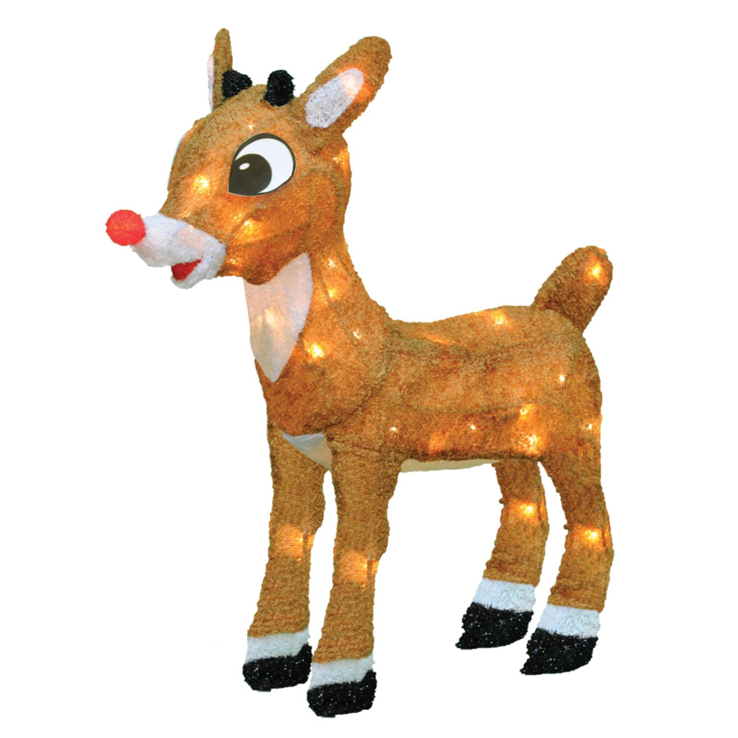 18 pre lit rudolph the red nosed reindeer outdoor decoration clear lights