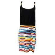 Miraclesuit NEW Women's 8 Black Multi Striped Print Scoop Neck Dress $89