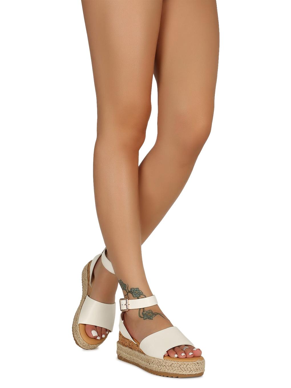 Women Open Toe Cork Espadrille Flatform Sandal 18668