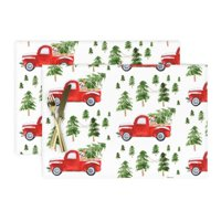 Cloth Placemats Vintage Christmas Red Truck Trees Dog Tree Winter Set of 2