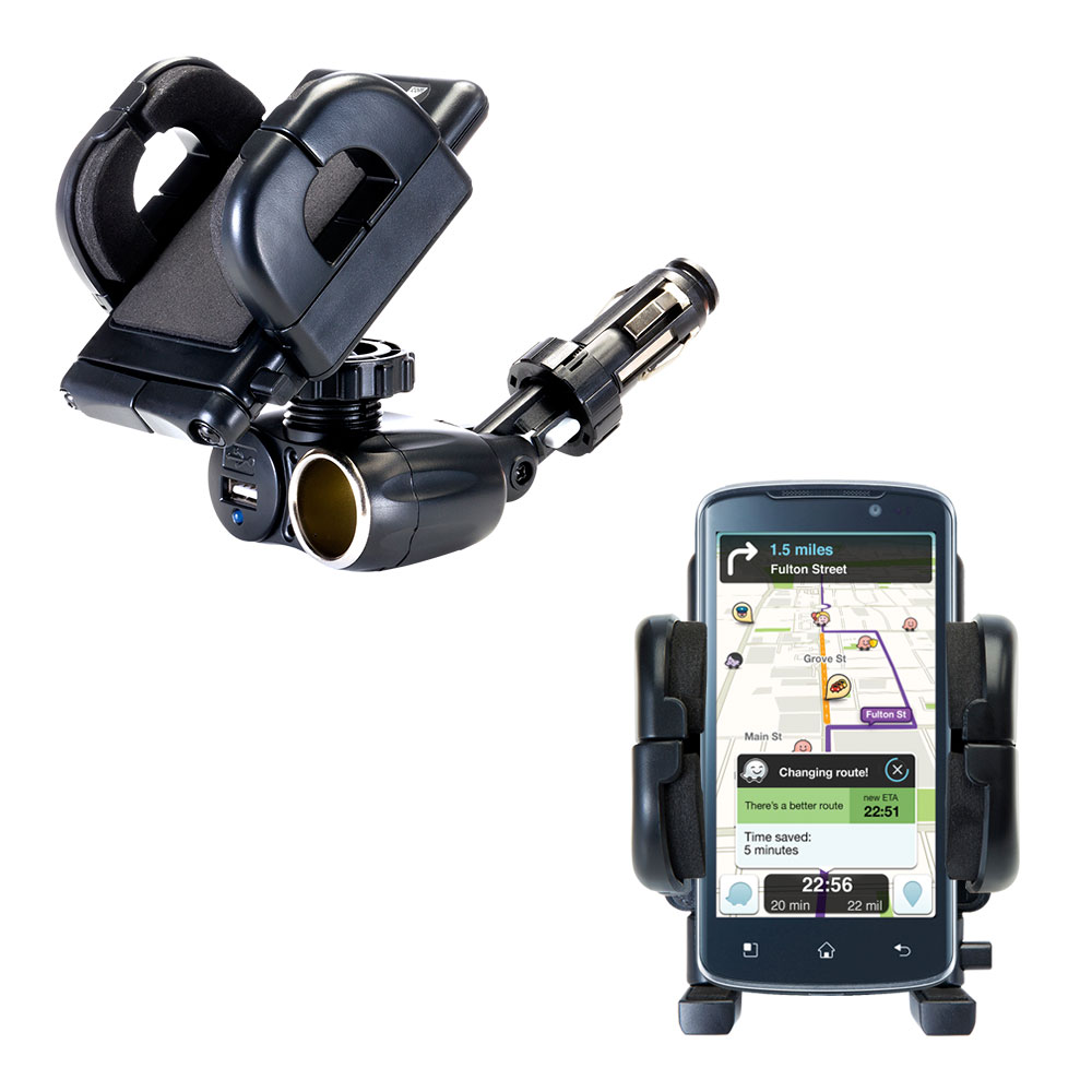 Dual USB / 12V Charger Car Cigarette Lighter Mount and Holder for the LG Optimus True HD