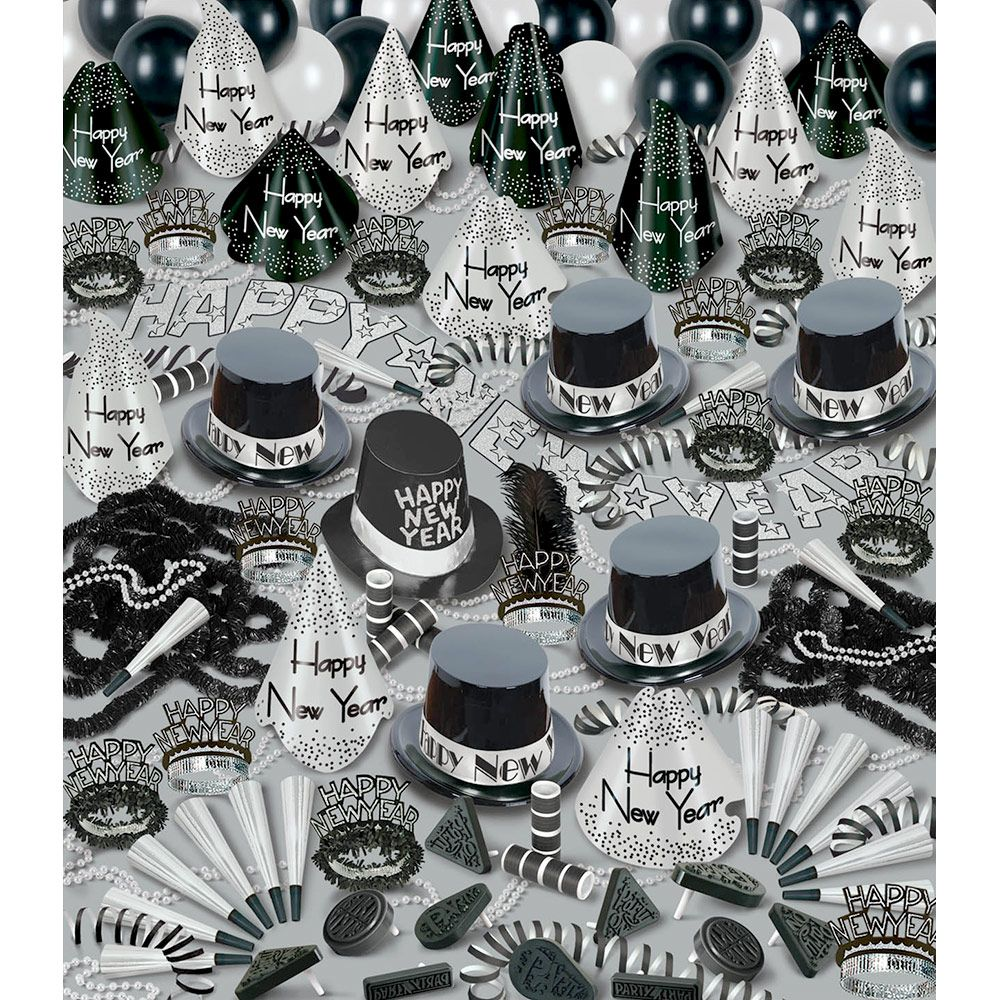 Silver Bonanza New Year's Party Kit (For 100 People) - New Year Eve Party Supplies