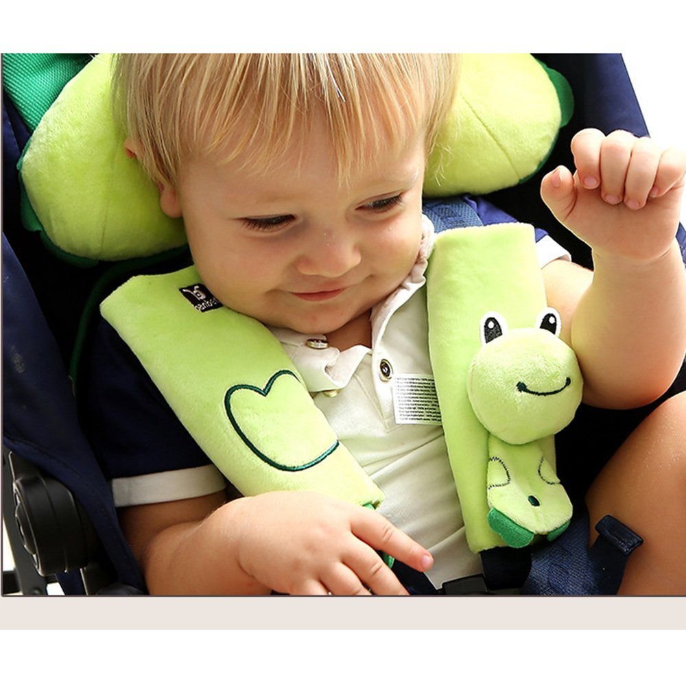 Baby Toddlers Head Neck Support Headrest and Safety Belt Cover Strap Cartoon Green Frog 1-4 Year by Auchen