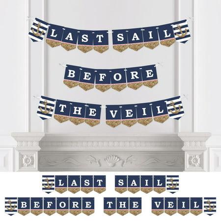 Last Sail Before The Veil - Nautical Bridal Shower & Bachelorette Party Bunting Banner -Bridal & Bachelorette Decoration