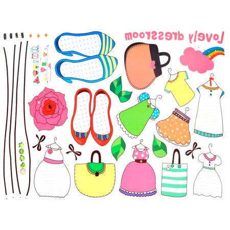Family Clothes Bag Shoes Pattern Self-Adhesive Wall Sticker Multicolor 70 x 50cm - image 1 de 4
