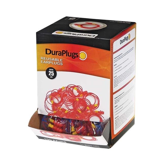 DuraPlug™ Reusable Earplugs, Corded, 100 pairs/box