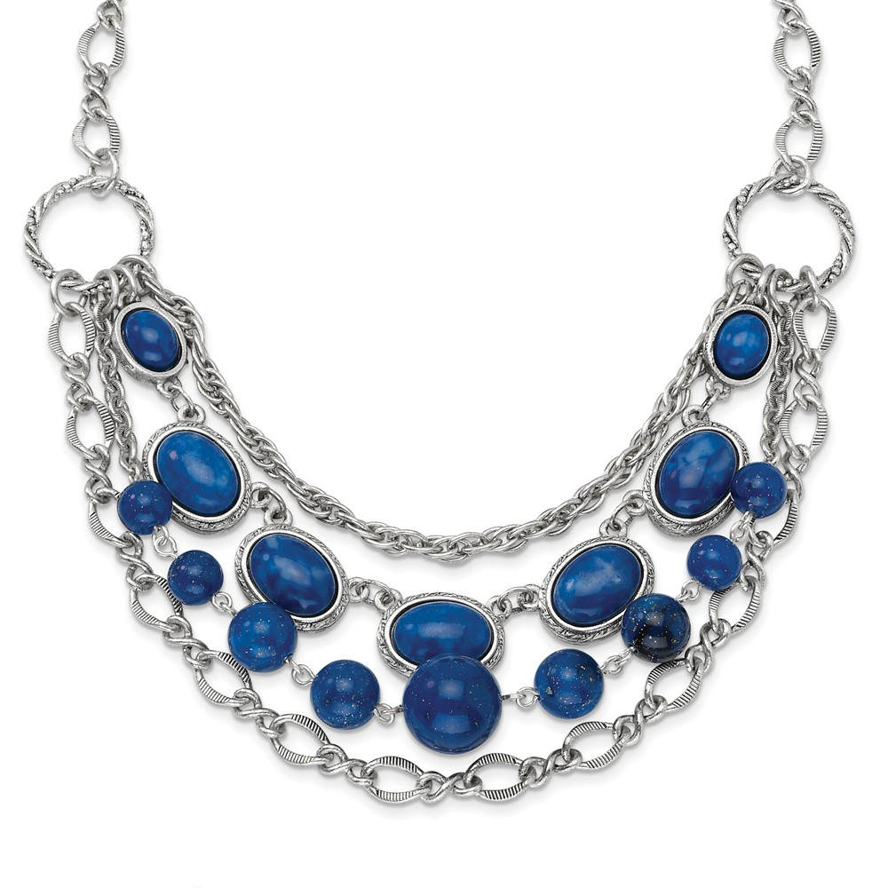 Silver-tone Blue Beads 16in with Ext Necklace