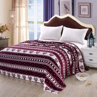 Soft Plush Heartfelt Micro Fleece Jacquard Blanket, Lovely Contemporary Pattern (Queen, Burgundy)