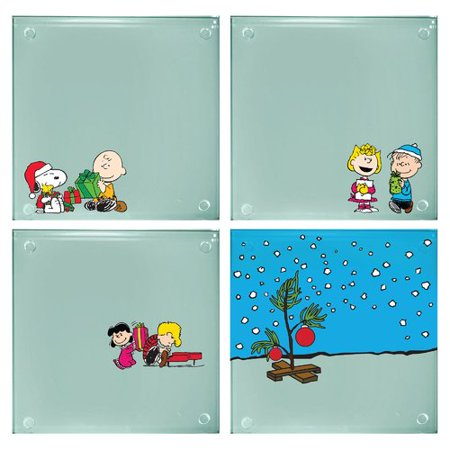 - Vandor LLC Peanuts Stacking Glass 4 Piece Coaster Set (Set of 2)