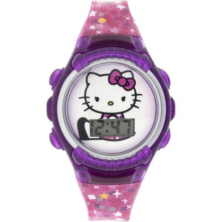67ab319d698 Hello Kitty - Hello Kitty Girl s Pink Stars Flashing Lights LCD Watch -  Walmart.com