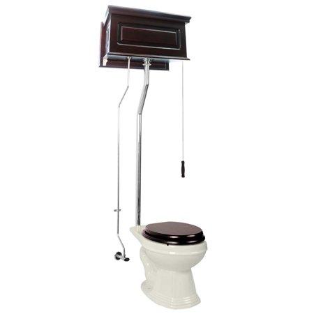 Dark Oak High Tank L-Pipe Toilet Elongated Biscuit Bowl | Renovators Supply