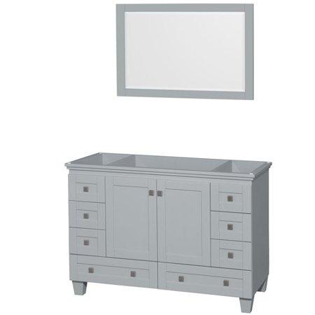 48 Inch Single Bathroom Vanity - Wyndham Collection Acclaim 48 inch Single Bathroom Vanity in Oyster Gray, No Countertop, No Sink, and 24 inch Mirror