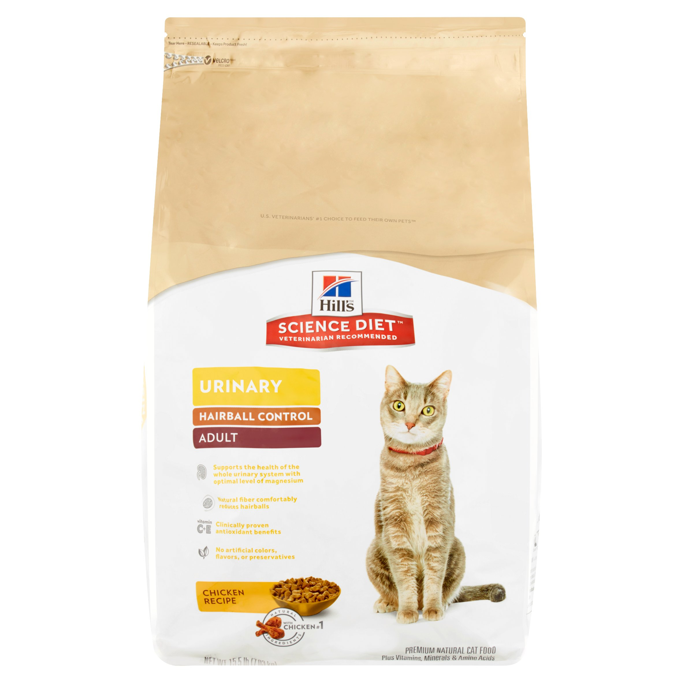 Hill's Science Diet Adult Urinary & Hairball Control Chicken Recipe Dry Cat Food, 15.5 lb bag by Hill's Pet Nutrition, Inc.