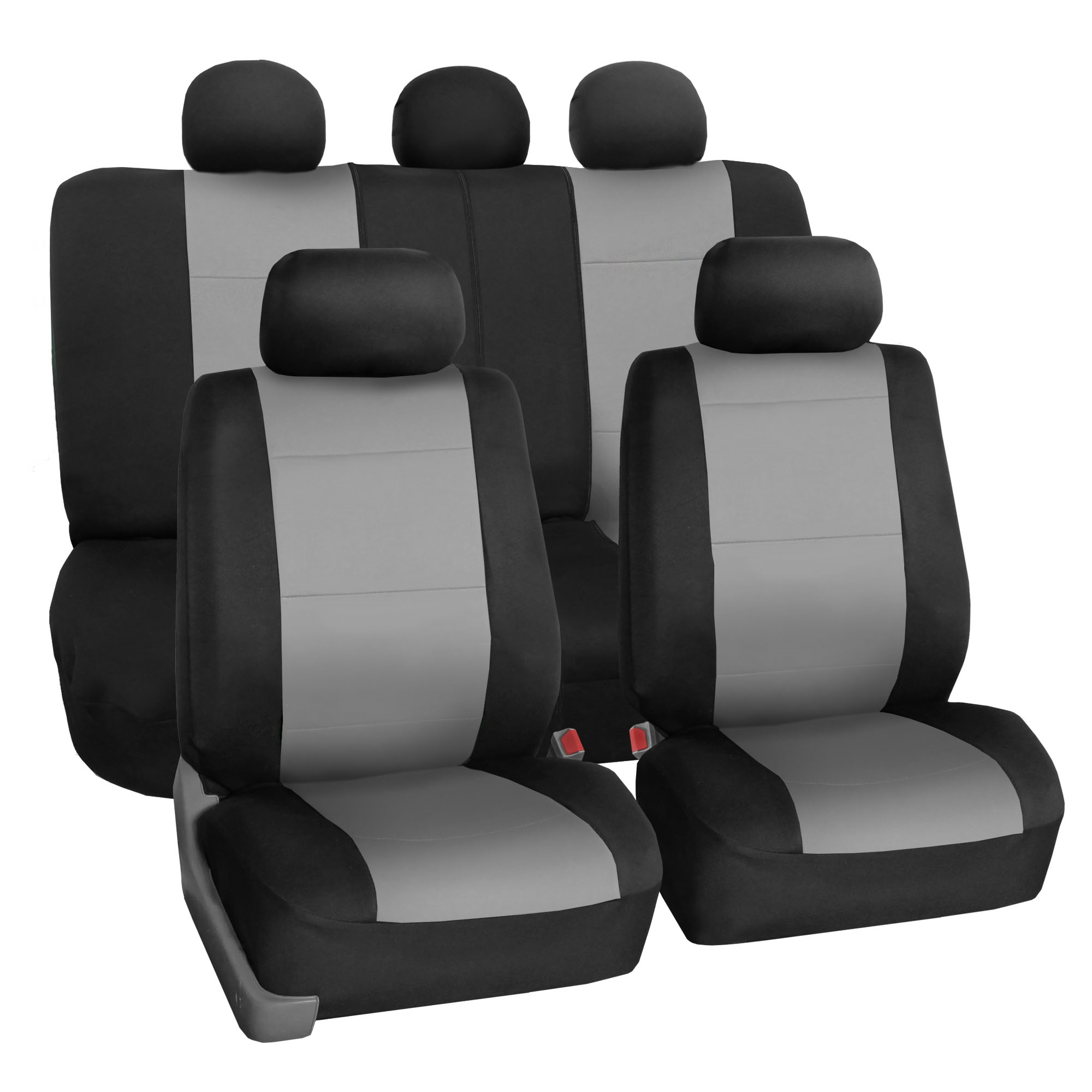FH Group Neoprene Waterproof Full Set Car Seat Covers Airbag Ready & Split Bench Function, Gray
