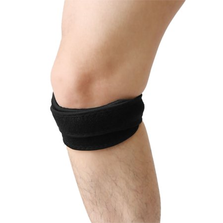 Black Red Hook Loop Closure Sports Knee Brace Support Patella Protective Band