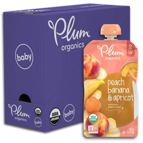 Plum Organics Stage 2 Organic Baby Food, Peach, Banana & Apricot, 4 Ounce Pouch (Pack of 6)