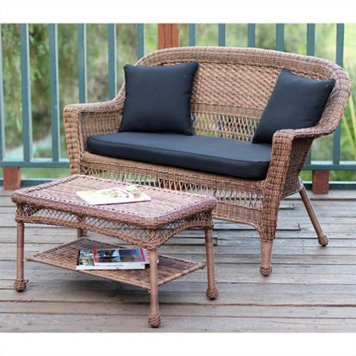 Jeco Wicker Patio Love Seat and Coffee Table Set in Honey with Black Cushion