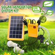 4IN1 3W Solar Power System With 2 Emergency Lights Re the Cell Phone Solar panel 3W with Electric Generator Two Gear Dimming Solar Home DC System Kit