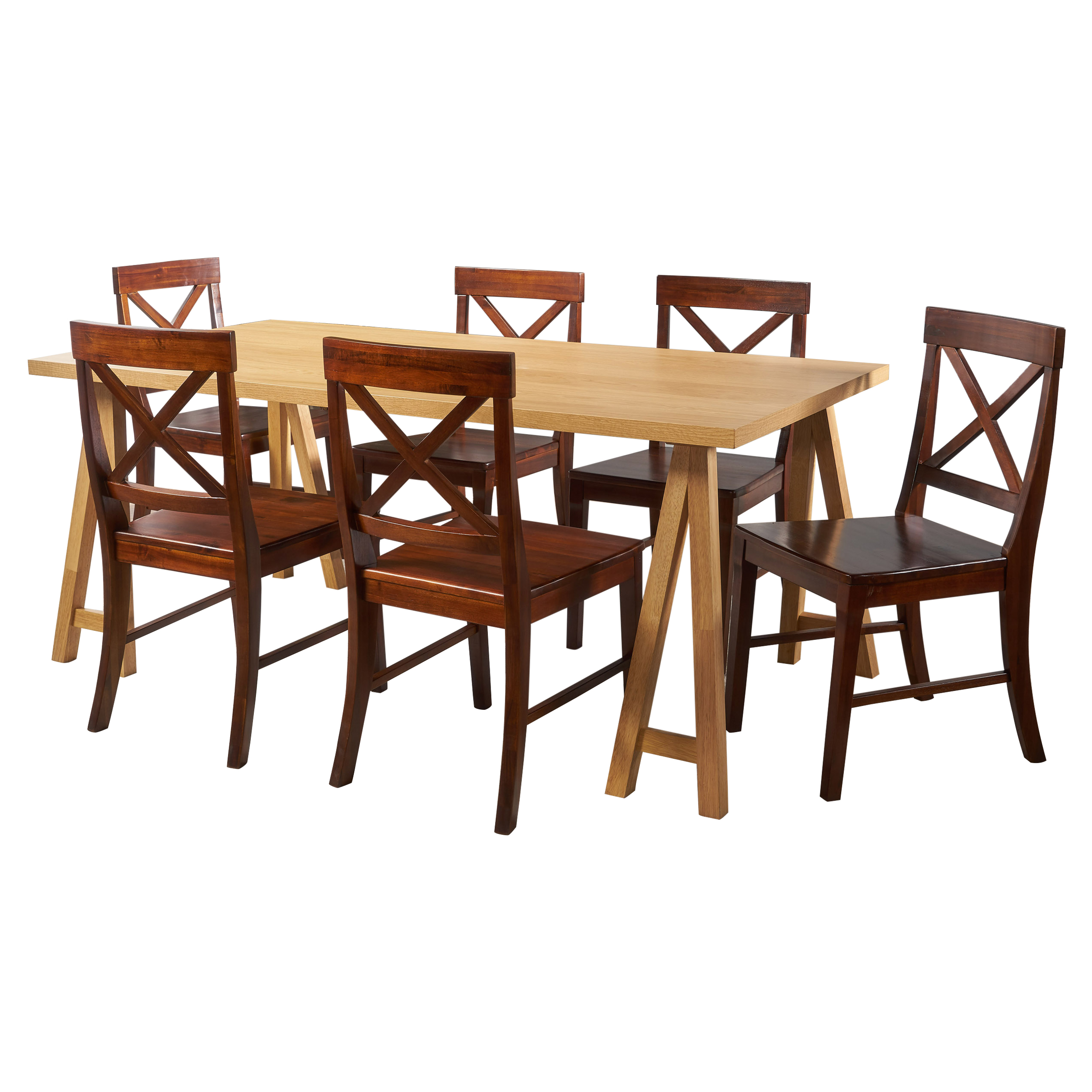 Sambora Farmhouse Natural Oak Dining Set with Dining Chairs, Rich Mahogany
