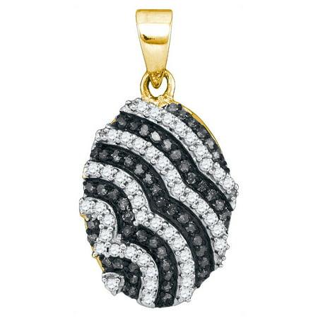 10K Yellow Gold 0.33ctw Shiny Pave Black Diamond Micro Pave Oval Pendant