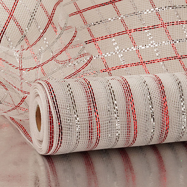 "21""X10 Yards White/Red/Silver 3-Clrd Stripe Metallic Deco Mesh by Paper Mart"