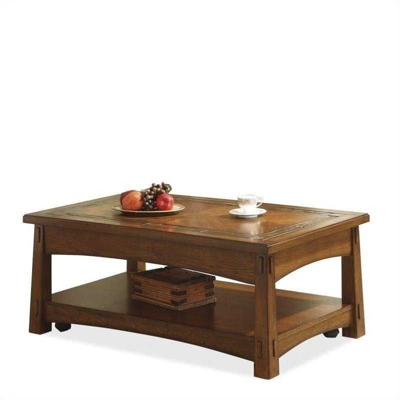 Bowery Hill Lift-Top Cocktail Table in Americana Oak