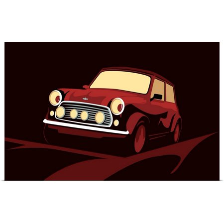 Great BIG Canvas   Rolled Michael Tompsett Poster Print entitled Classic Mini Cooper in Red ()