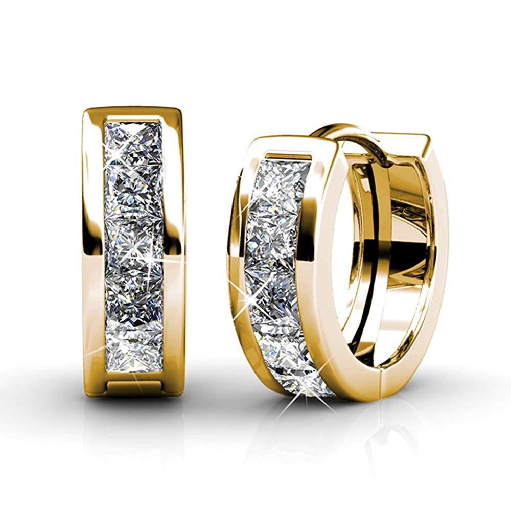 Details about  /18K White Gold Love Heart Bling Silver Cubic Zirconia Hoop Earrings Jewellery Uk