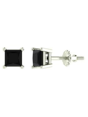 c3a5339f8 Product Image 0.92 ct tw Natural Blackl Princess Cut Diamond Stud Earrings  14K White Gold Screw Back. Glitz Design. Product Title0.92 ...