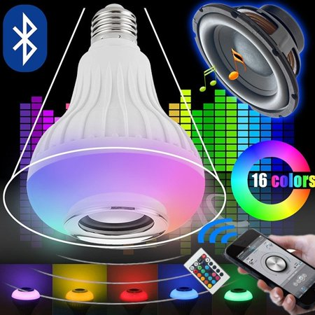 Buetooth E27 12W LED RGB Music Bulb Color Speaker Smart Wireless Infared Light Bulb Kingso Smartphone Atmosphere Home Party Stage Dancing With Remote Control 110V/220V
