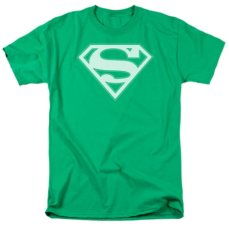 SUPERMAN/GREEN & WHITE SHIELD - S/S ADULT 18/1 - KELLY GREEN - LG
