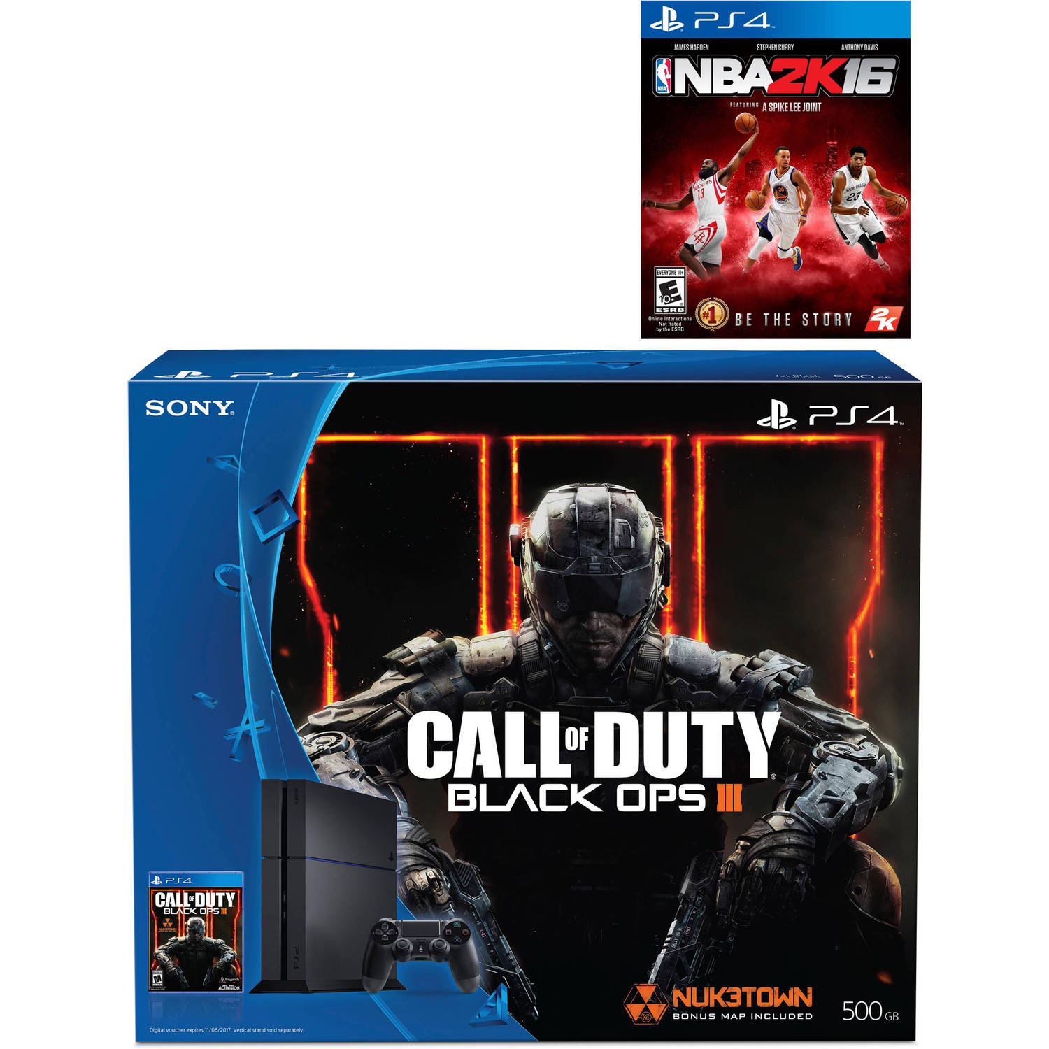 Sony PlayStation 4 System 500GB with Call of Duty: Black Ops 3 Standard Edition Disc and NBA 2K16 Disc