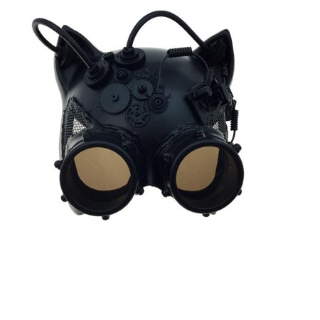 Kitty Cat Mask (Kbw Black Steampunk Kitty Cat Women's Costume Half Mask with Goggles)