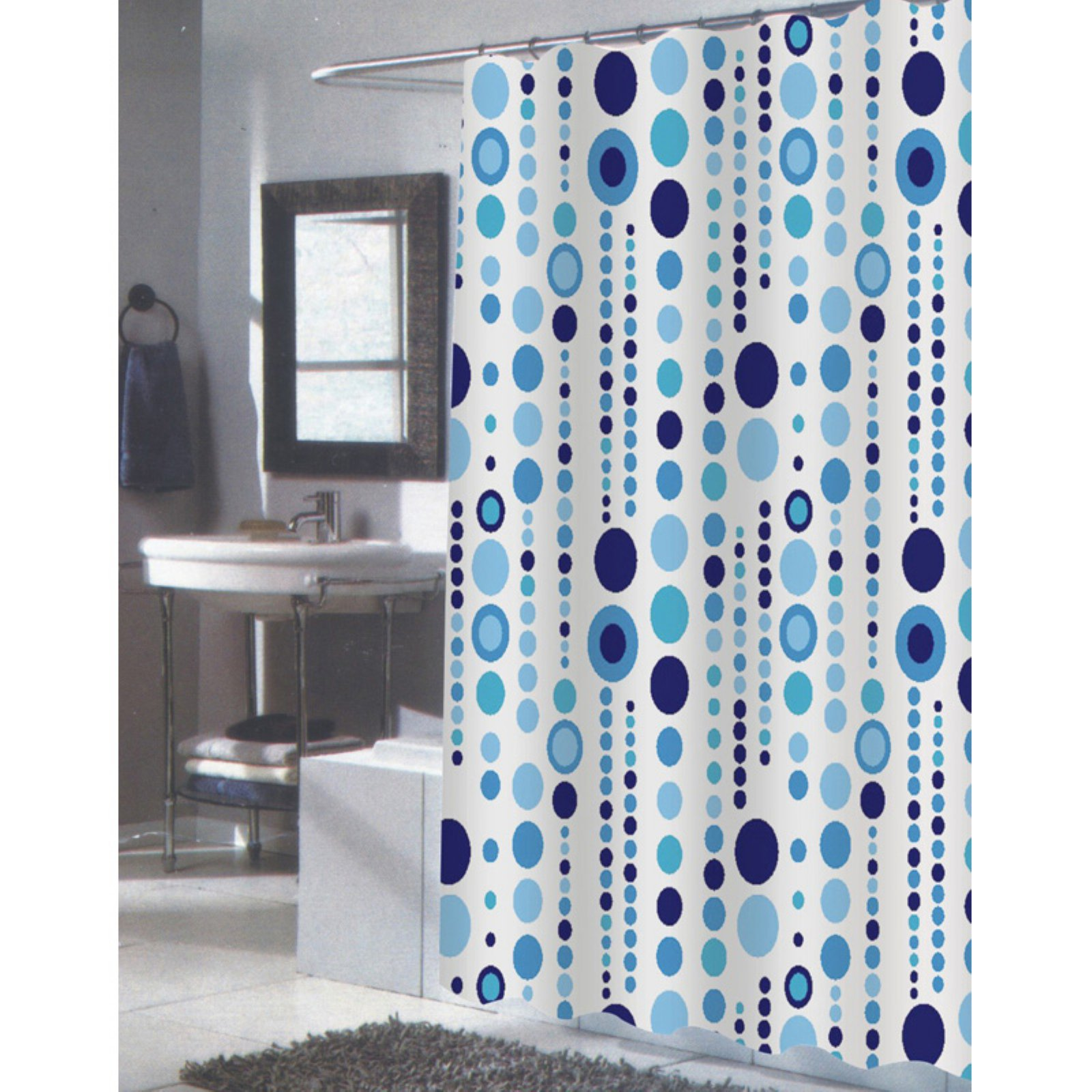 Carnation Home Fashions Mia Extra Long Blue and White Fabric Shower Curtain by Carnation Home Fashions