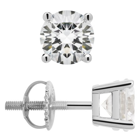 14K Solid White Gold Stud Earrings | Round Cut Cubic Zirconia | Screw Back Posts | 2.0 CTW