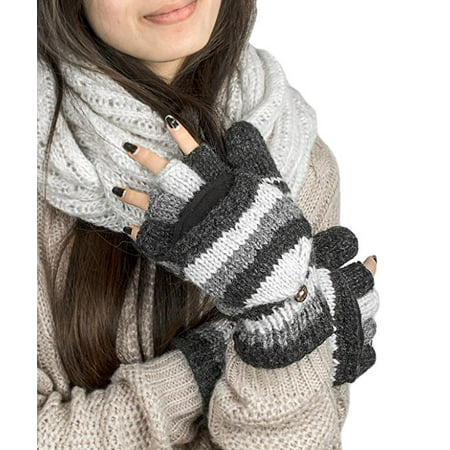 Soft Pure Wool Warm Winter Convertible Gloves Mittens Grey Snow Fleece