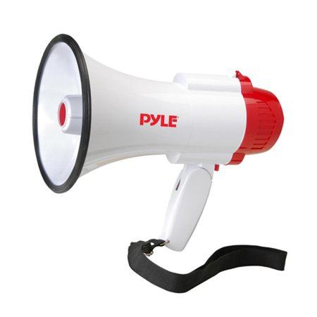 PYLE PMP35R - Compact & Portable Megaphone Speaker with Siren Alert, 10 Second Memory Playback Record Mode, Adjustable Volume Control
