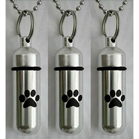 THREE Pet/Dog/Cat - Personal CREMATION URN Keepsakes with Large Laser Engraved PAWS - Includes Velvet Pouches, Ball-Chains & Fill Kit