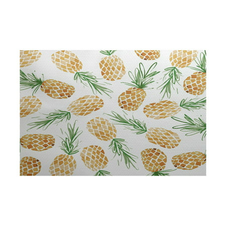 Simply Daisy, Tossed Pineapples, Geometric Print Indoor/Outdoor Rug