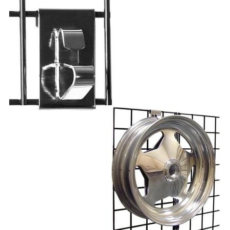Gridwall Wheel Holder/Grid Wheel & Rim Display Hook for Gridwall Panels, Chrome, 1 Unit - Panel Display Unit