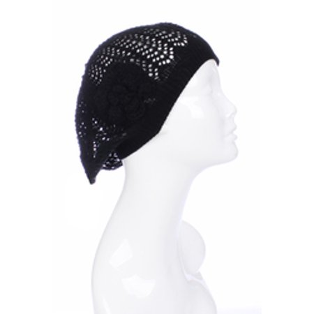 Lightweight Airy Cutout Summer Knit Beanie Beret With Crochet Flower -