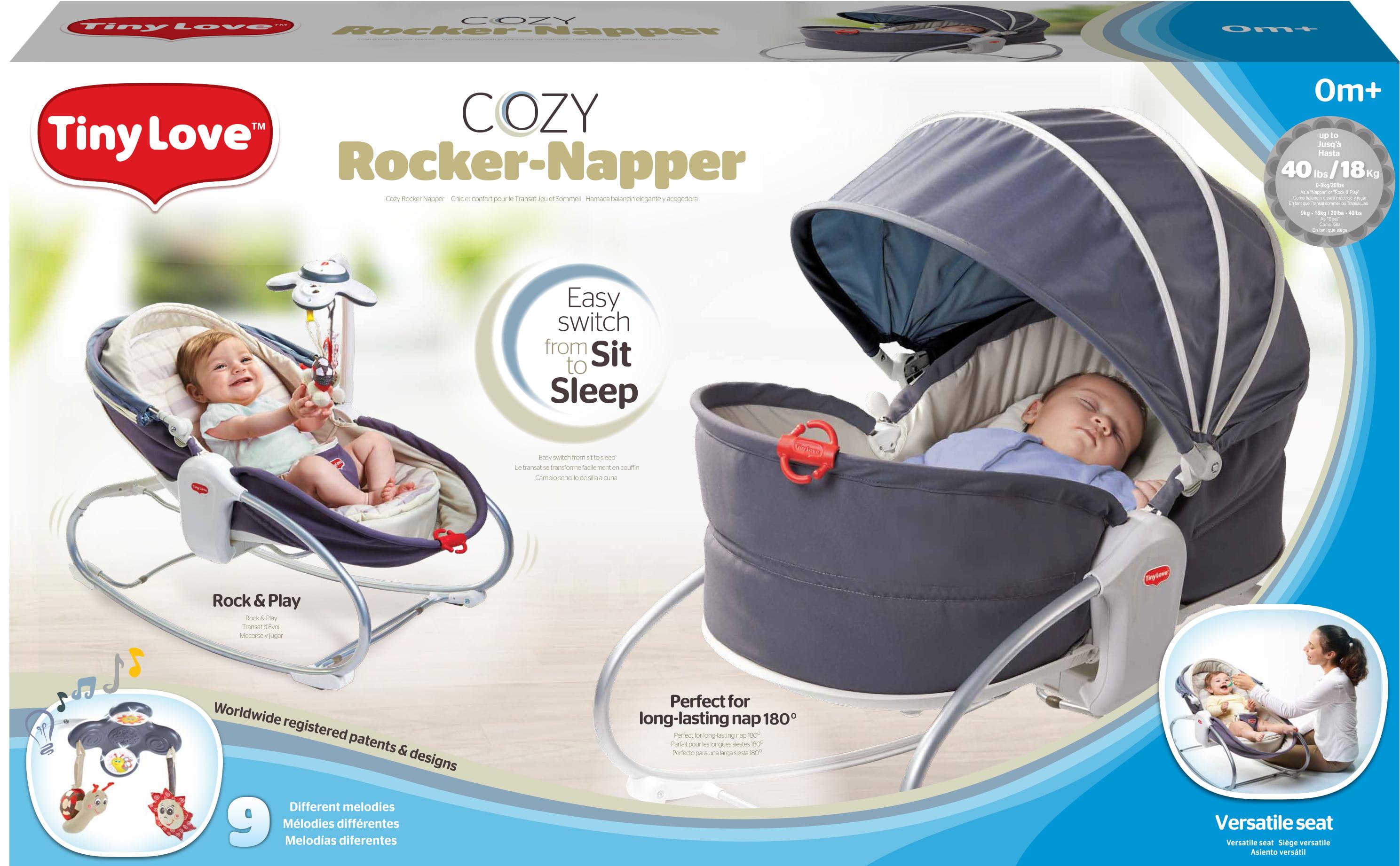 9e8eccf2f Tiny Love 3-in-1 Cozy Baby Rocker-Napper with Recline - Grey ...