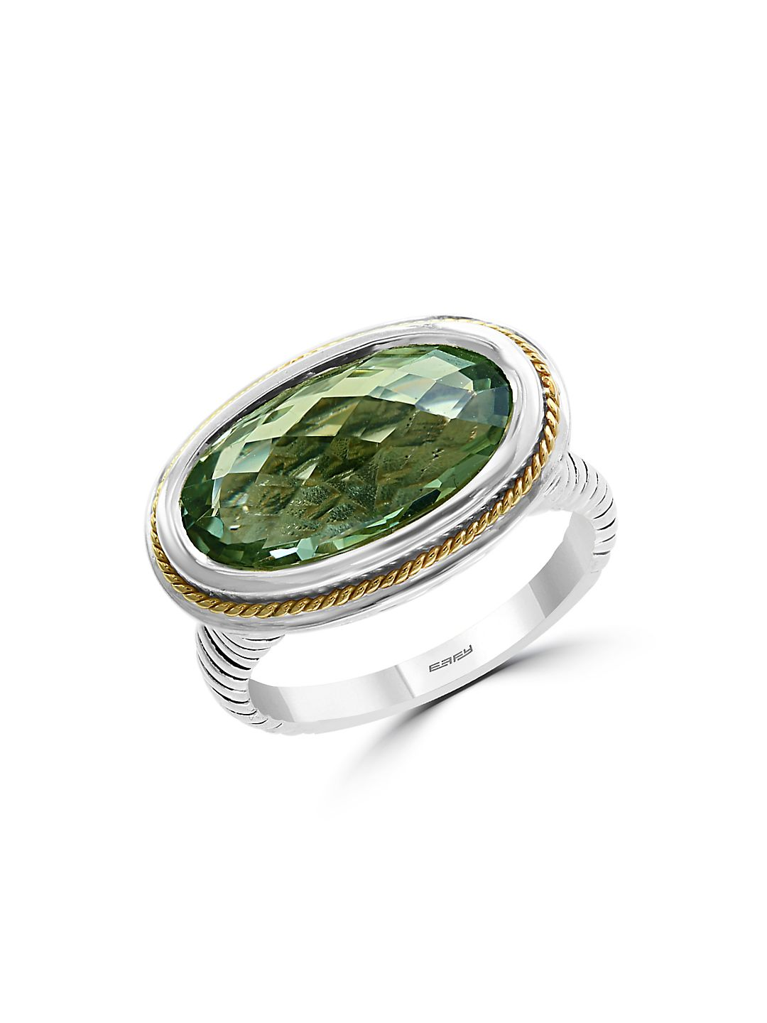 925 Sterling Silver, 18K Yellow Gold & Green Amethyst Ring